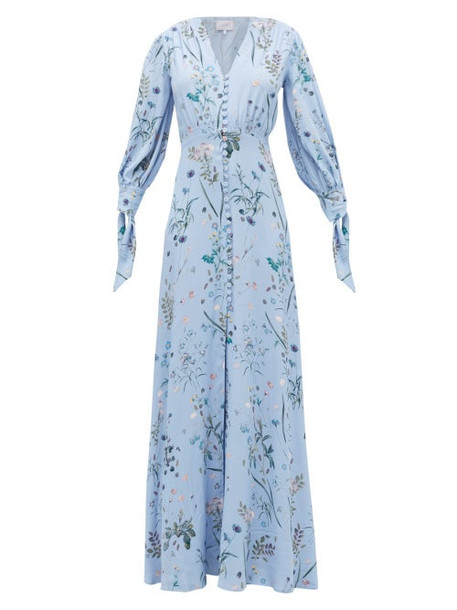 Luisa Beccaria - Tie-neck Floral-print Crepe Maxi Dress - Womens - Blue Multi