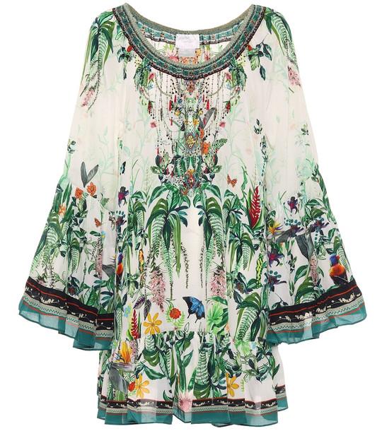 Camilla Floral silk dress in green