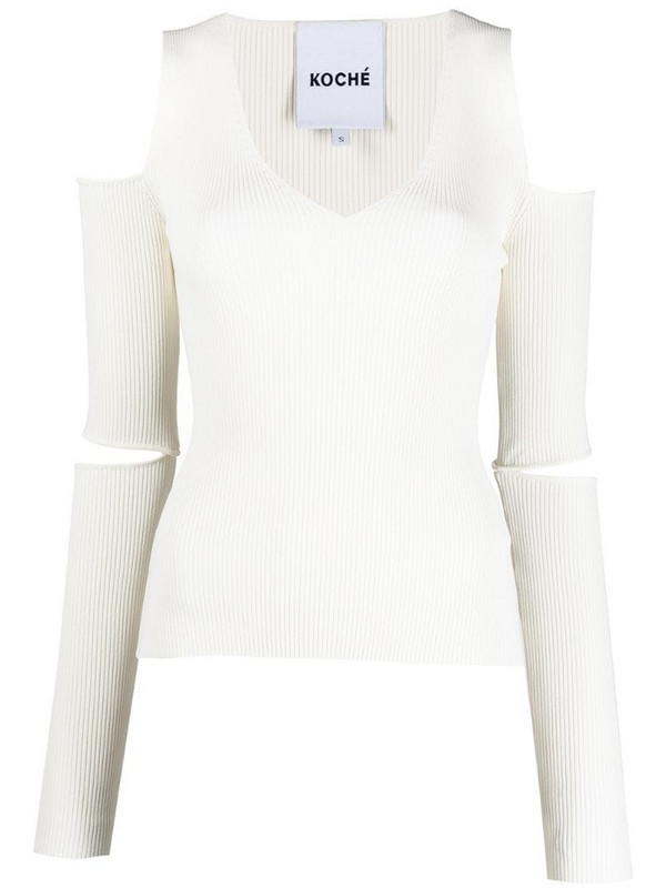 Koché ribbed knit cut-out detail top in white