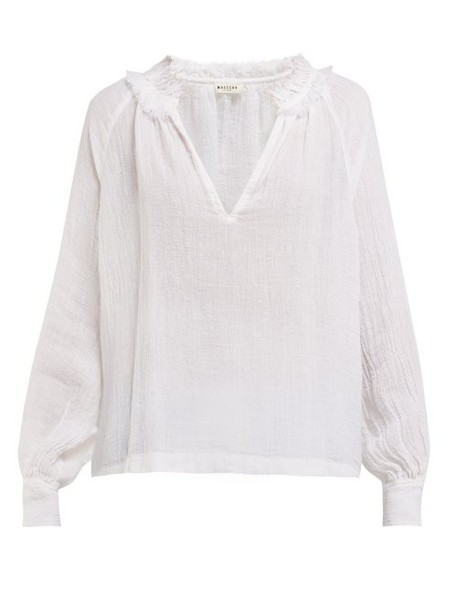 Masscob - Morant Slubbed Linen Blouse - Womens - White