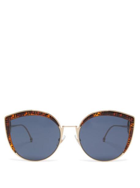 Fendi - F Is Fendi Oversized Metal Sunglasses - Womens - Tortoiseshell