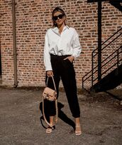 top,white shirt,h&m,black pants,zara,white sandals,bag