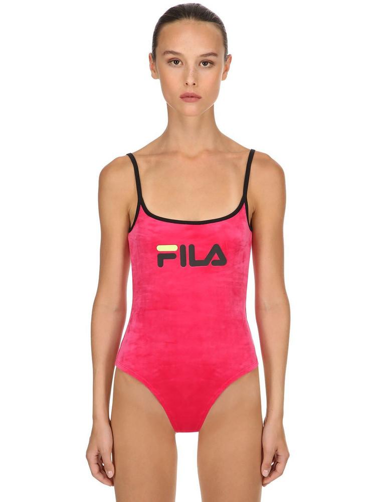 FILA URBAN Leya Cotton Blend Velour Bodysuit in fuchsia