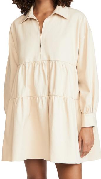 En Saison Cotton Poplin Mini Dress in natural
