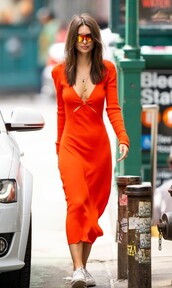 dress,red dress,red,midi dress,emily ratajkowski,model off-duty,streetstyle,spring dress,spring outfits