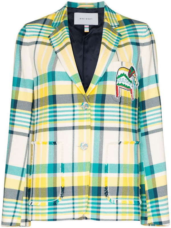 Mira Mikati elephant patch checked blazer in yellow