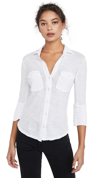 James Perse Contrast Panel Shirt in white