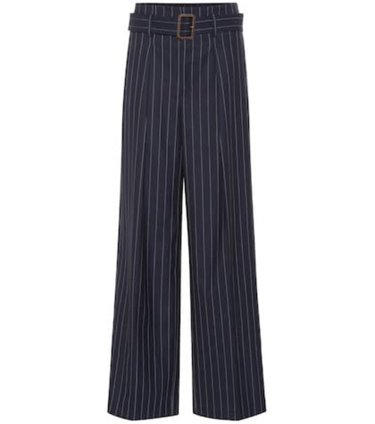Polo Ralph Lauren Pinstripe wide-leg wool pants in blue