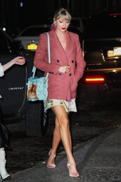 coat,floral,floral dress,celebrity,taylor swift,spring outfits
