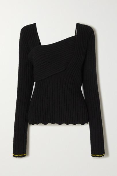Bottega Veneta - Ribbed-knit Cotton-blend Sweater - Black
