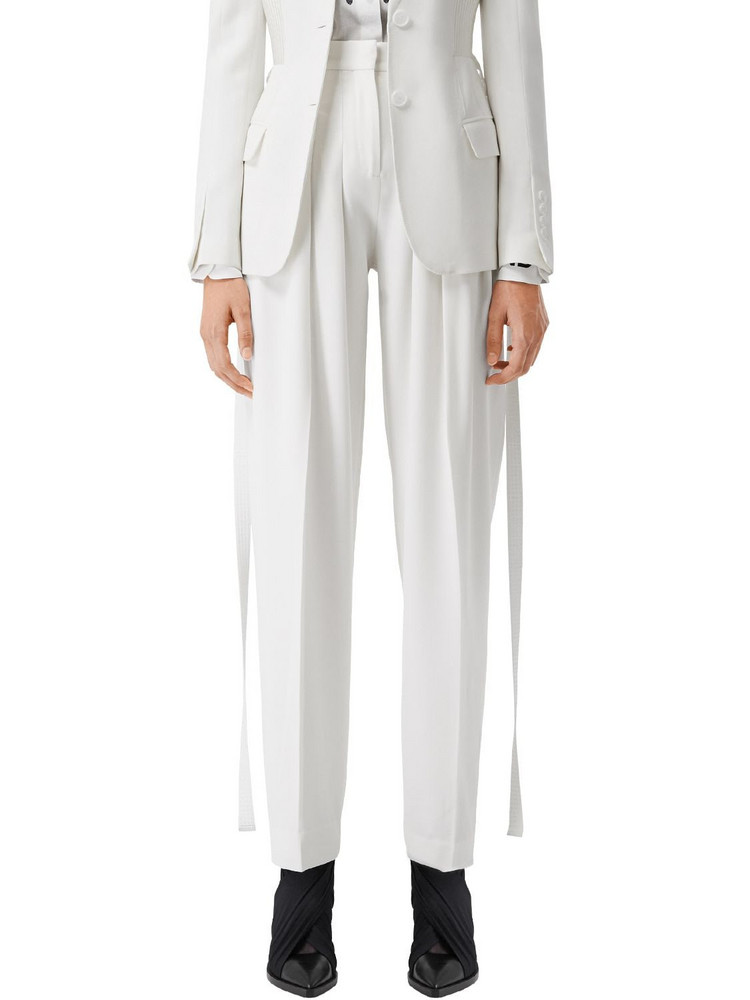 BURBERRY High Waist Wool Gabardine Pants in white