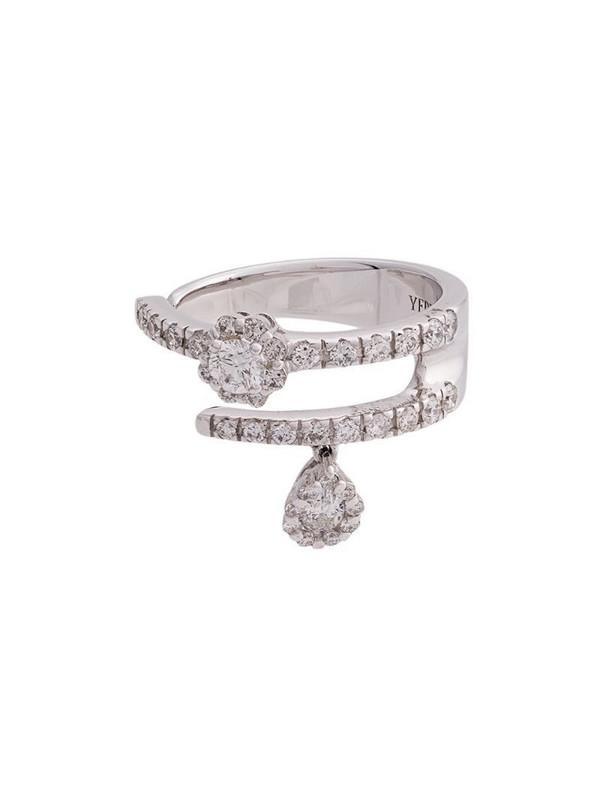 Yeprem 18kt white gold diamond double band ring