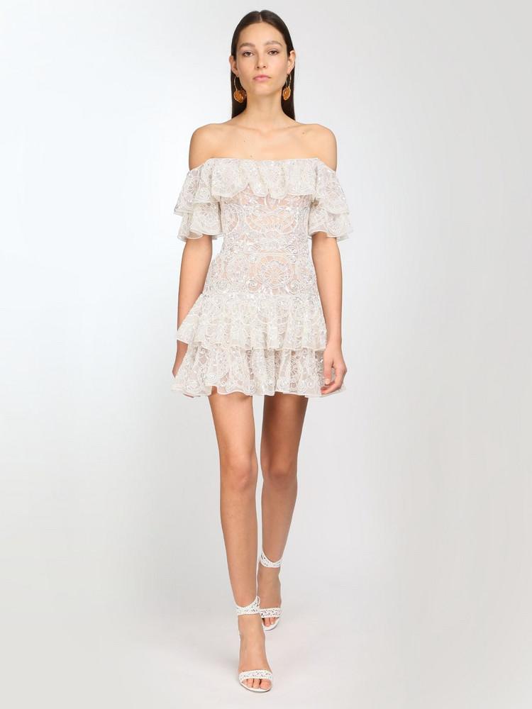 ZUHAIR MURAD Embellished Tulle Mini Dress in white