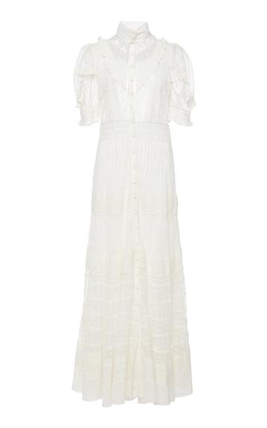 LoveShackFancy Priya Midi Short Sleeve Dress in white