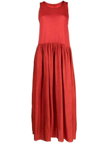 Uma Wang sleeveless pleat-detail dress in red