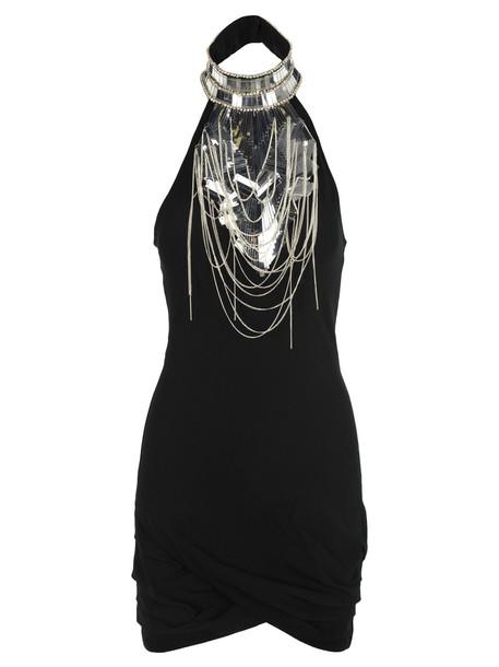 Balmain Balmain Embellished Crepe Mini Dress in black
