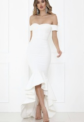 dress,white,white dress,white ruffled dress,ruffle,maxi dress,midi dress,off the shoulder