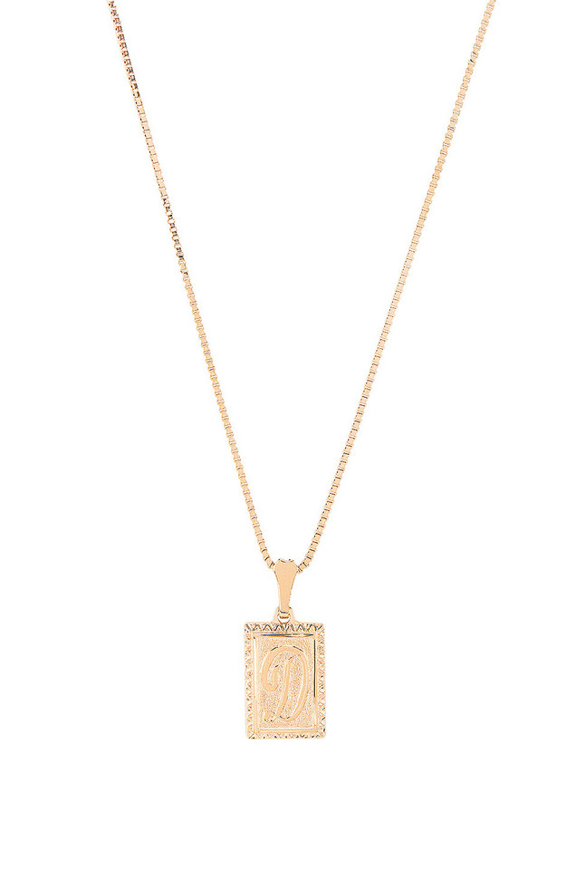 Vanessa Mooney The London D Initial Necklace in gold / metallic