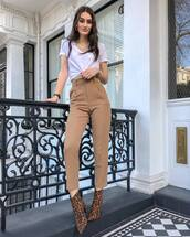 pants,high waisted pants,ankle boots,leopard print,white t-shirt