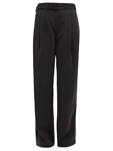 Lemaire - High-rise Belted Silk-blend Trousers - Womens - Black