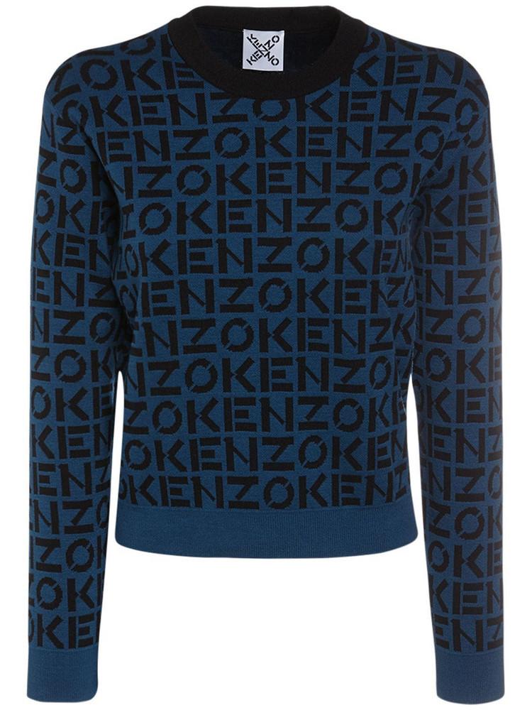 KENZO Monogram Cotton Blend Knit Sweater in black / blue