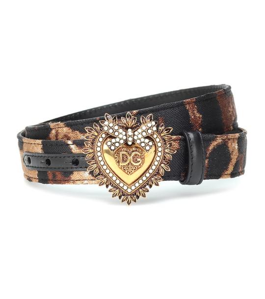 Dolce & Gabbana Devotion leopard-jacquard belt in black