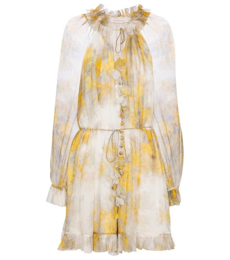 Zimmermann Botanica printed silk georgette playsuit in yellow