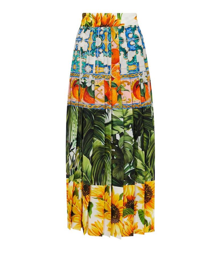 Dolce & Gabbana Printed stretch-silk midi skirt