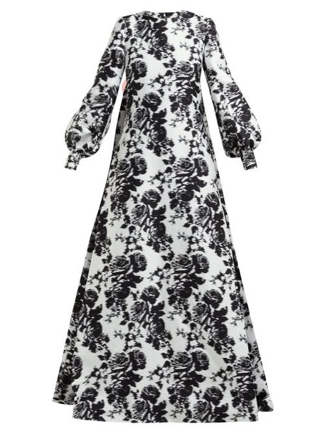 Erdem - Clover Rosechine Jacquard Cotton Blend Gown - Womens - Black White
