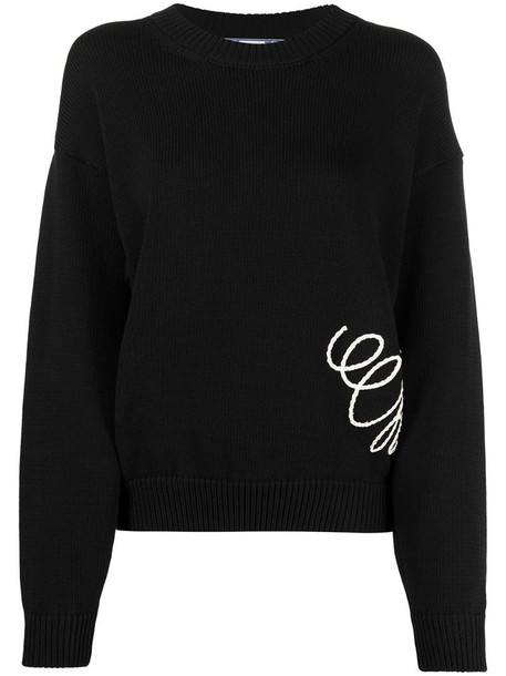 Off-White graphic-print knitted sweatshirt in black