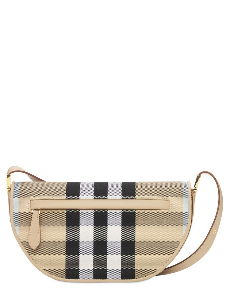 BURBERRY Small Olympia Canvas Check Shoulder Bag in sand