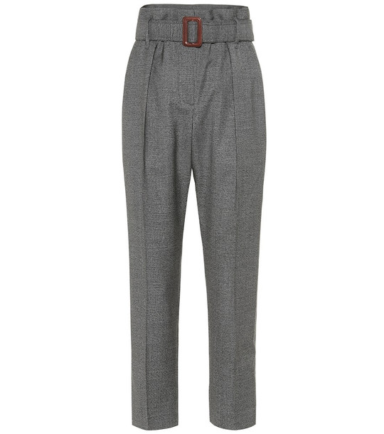 Brunello Cucinelli High-rise wool pants in grey