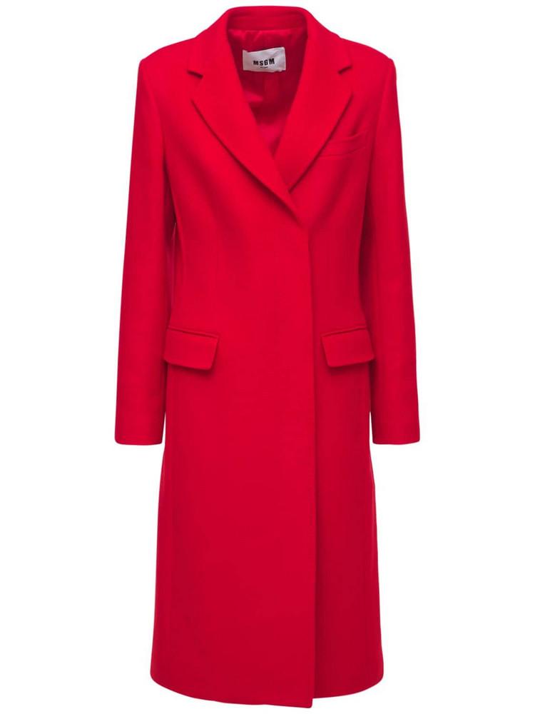 MSGM Wool Blend Felt Single Breast Coat in red