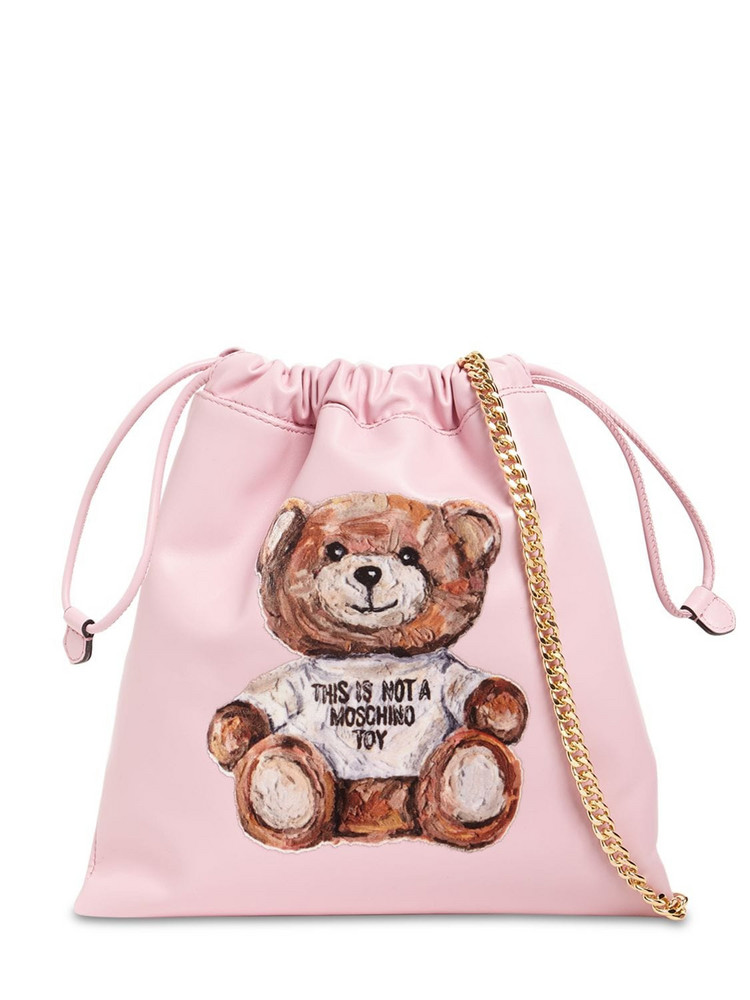 MOSCHINO Painted Teddy Bear Leather Shoulder Bag in pink