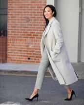 coat,grey coat,long coat,double breasted,pumps,plaid,grey pants,pants