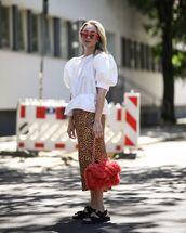 top,white blouse,puffed sleeves,midi skirt,leopard print,black sandals,chanel bag