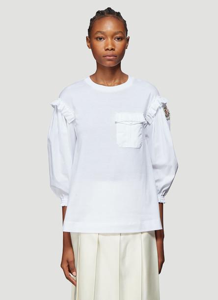 4 Moncler Simone Rocha Contrast Sleeve Cotton T-Shirt in White size XS