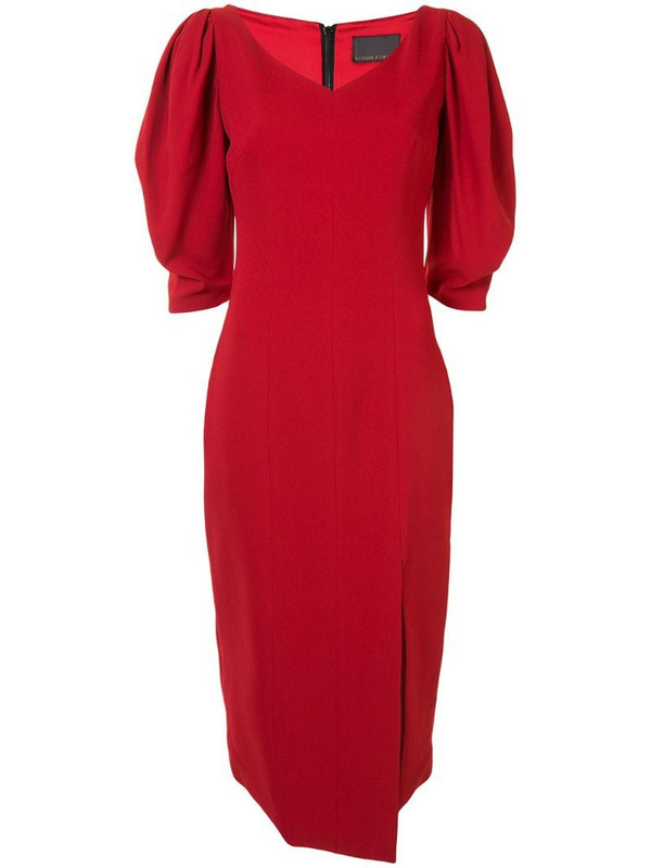 Ginger & Smart fitted asymmetric hem dress in red