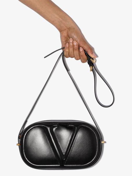 Valentino black garavani VLOGO leather cross body bag
