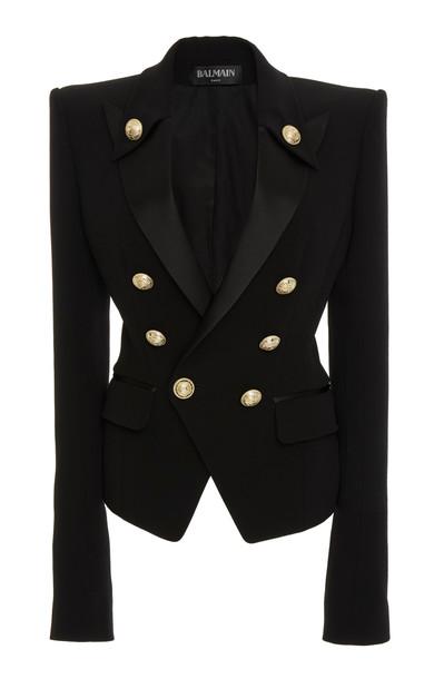 Balmain Satin Lapel Crepe Jacket in black