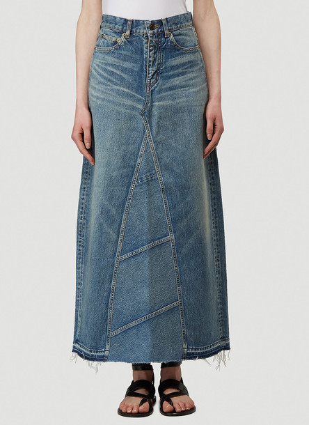 Saint Laurent A-Line Denim Skirt in Blue size 26