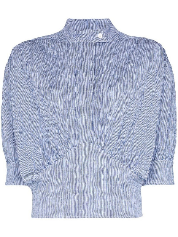 By Any Other Name striped cummerbund top in blue