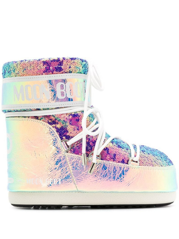 Moon Boot sequinned moon boots in purple