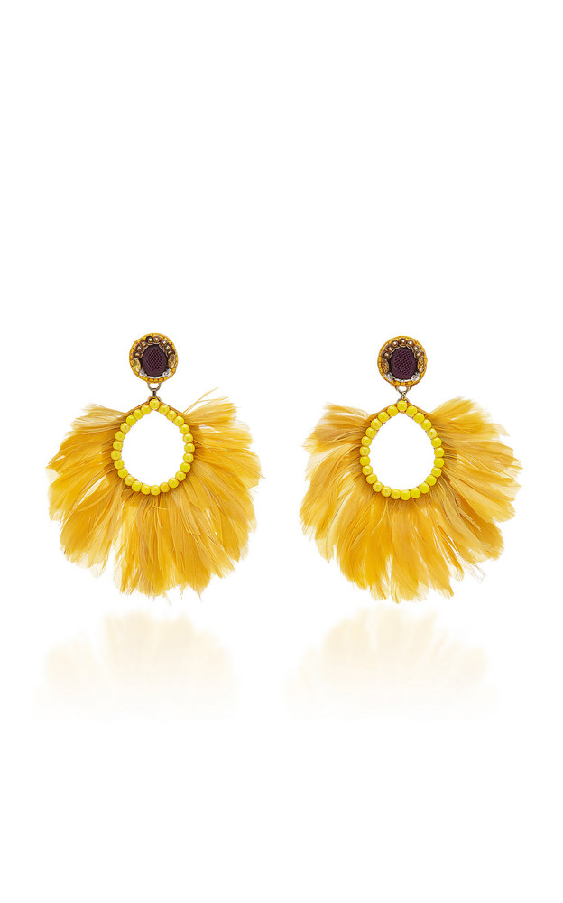 Ranjana Khan Luz 14K Gold-Plated Crystal and Feather Earrings in yellow