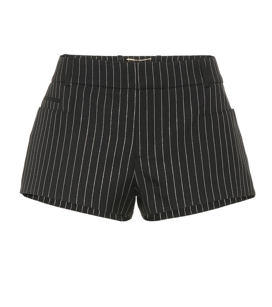 Saint Laurent Striped wool-blend shorts in black
