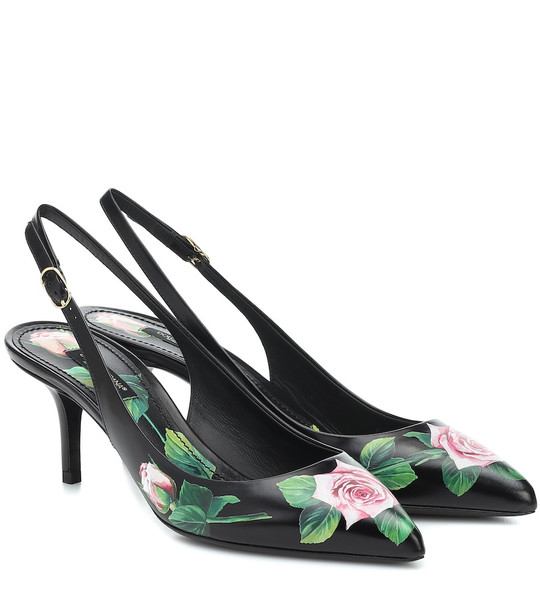 Dolce & Gabbana Floral leather slingback pumps in black