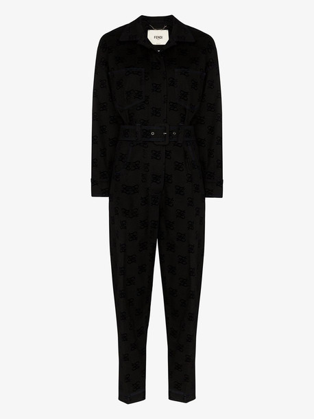 Fendi Karligraphy logo stretch cotton jumpsuit in black