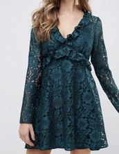 dress,emerald green,lace
