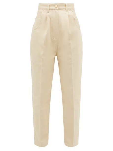 Hillier Bartley - High Rise Brushed Cotton Twill Jeans - Womens - Cream