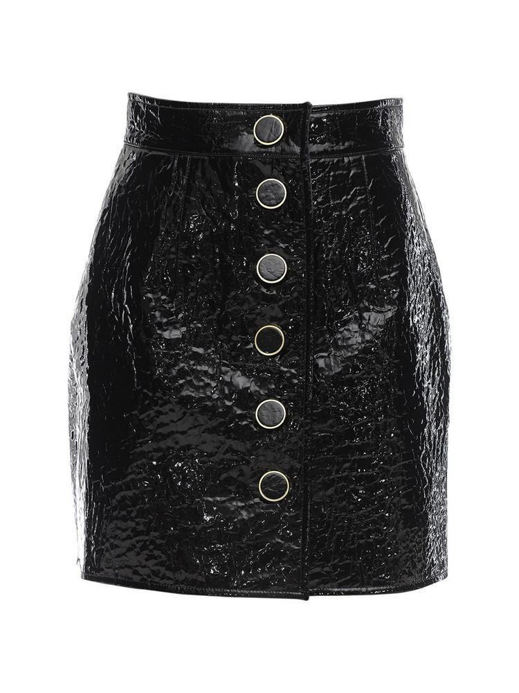 GEORGE KEBURIA Faux Leather Mini Skirt in black